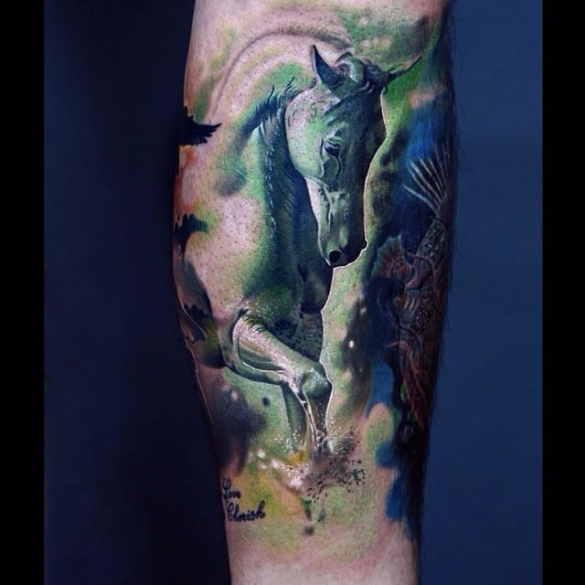 Gorgeous piece by Zhen Cang. equestrian tattoos