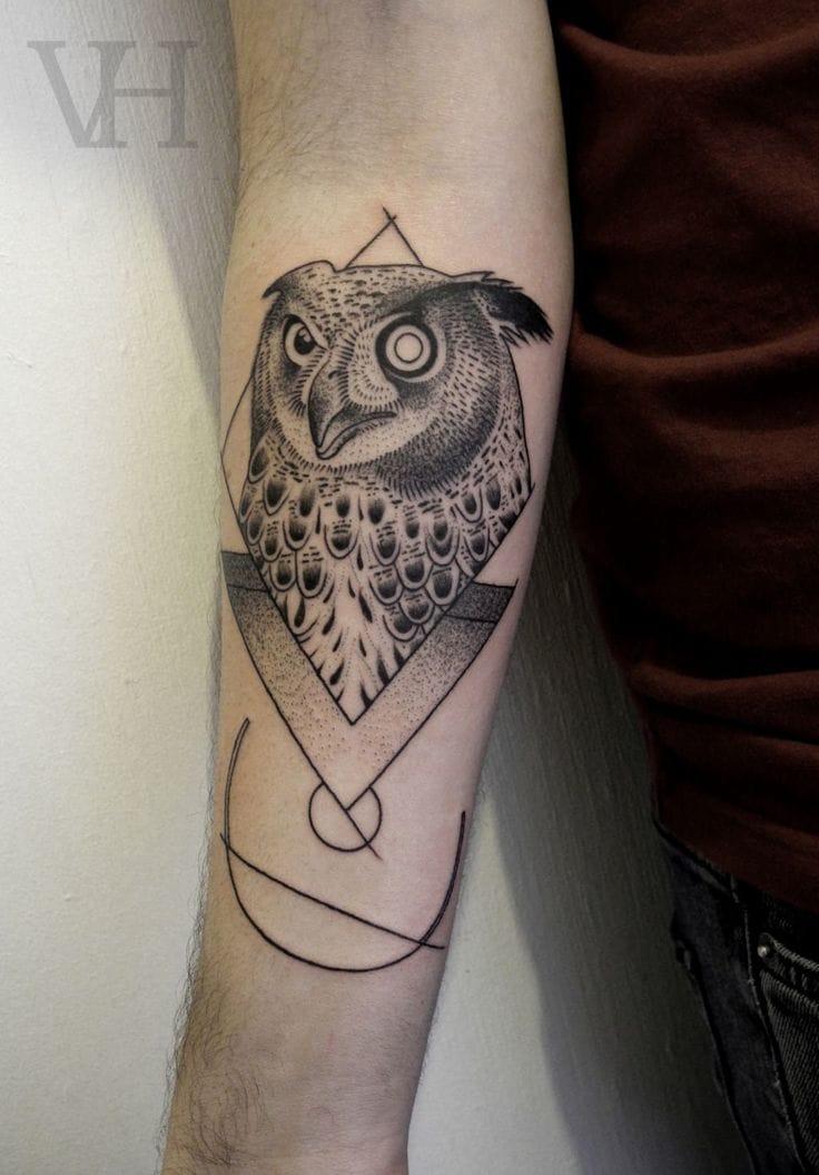 Owl tattoo by Valentin Hirsch