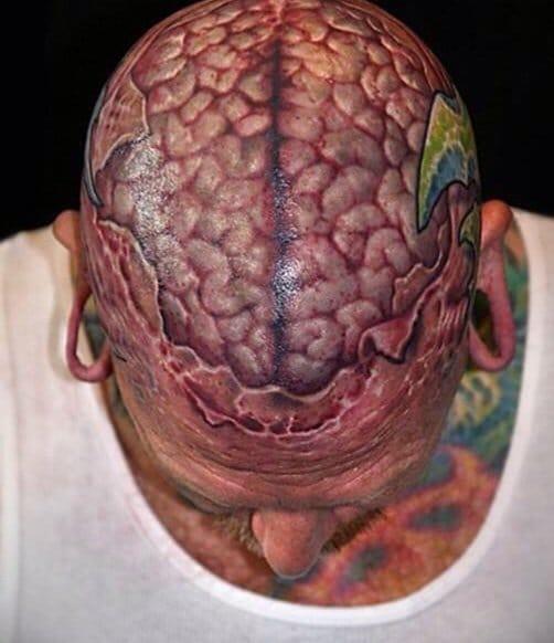 Tattoo of guts, brain tattoo