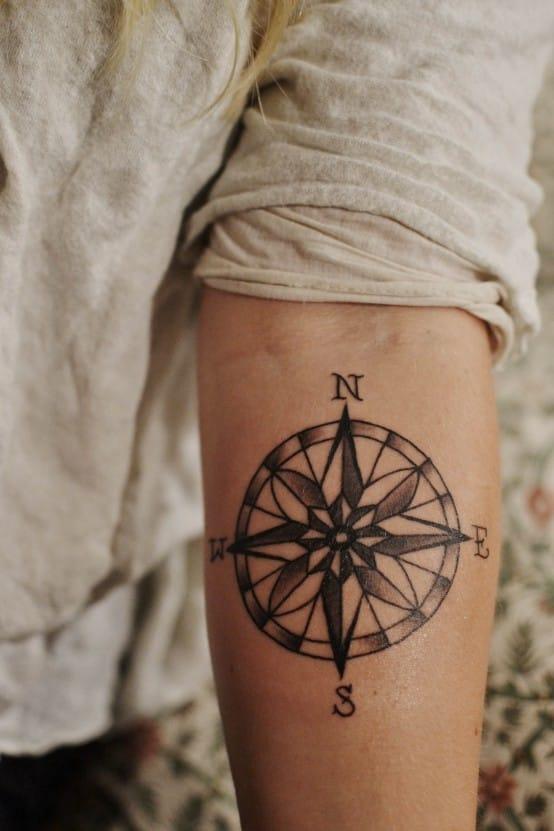 Compass tattoo, artist unknown. #compass