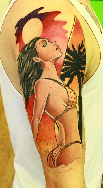 Summer is the time of bikini girls and surfing. Pin-up by Andy Walker.