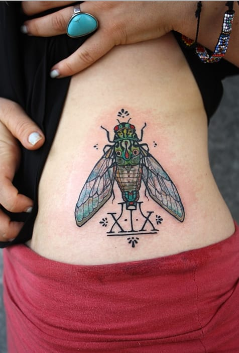 Cicadas are insects of the Southern countries, and their incredible noise is a symbol of summer for many people. Tattoo by David Hale.