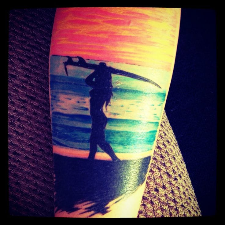 Sunset surfer girl by Tia Blanco.