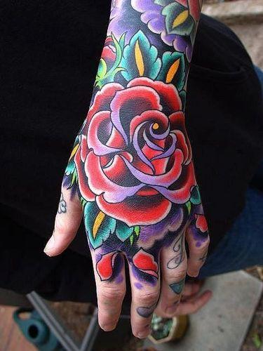 10 Beautiful Rose Hand Tattoos