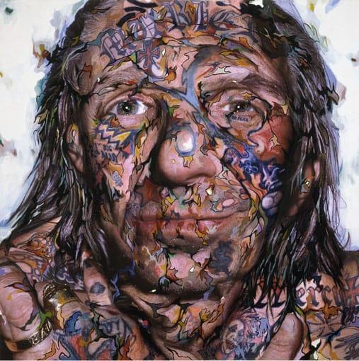 "Jefe del Indio Larry 1, 2006 Collage, Acrílico sobre Panel de Aluminio, Colección Privada 60 ""x 60"", Barcelona.  Pic cortesano de chamblissgiobi.com"