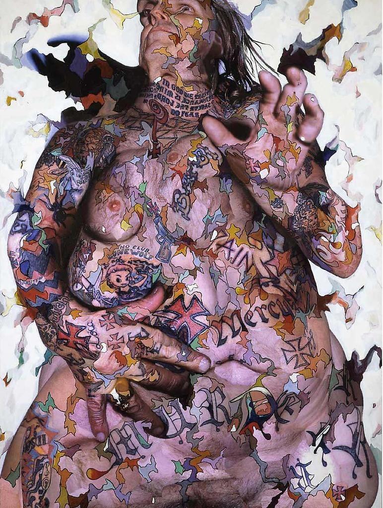 Torso de Indian Larry, 2005 Collage, Acrílico sobre panel de aluminio, 92
