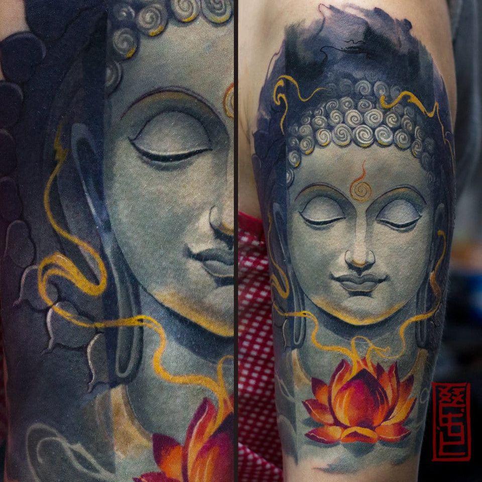 Buddha portrait tattoo by Tymur Denysenko #TymurDenysenko #buddhatattoo #buddhaportrait