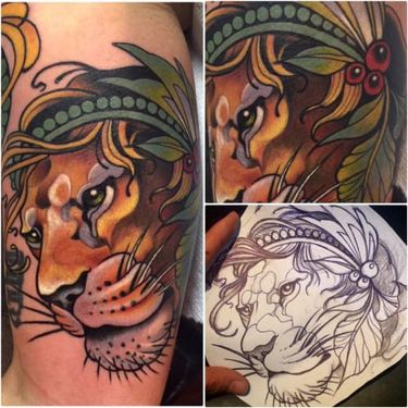 10 Stylish Neo-Traditional Lion Tattoos
