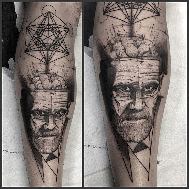 Tattoo by Fredao Oliveira #blackwork #blckwrk #linework #shading #abstract #sketchstyle #brain #portrait