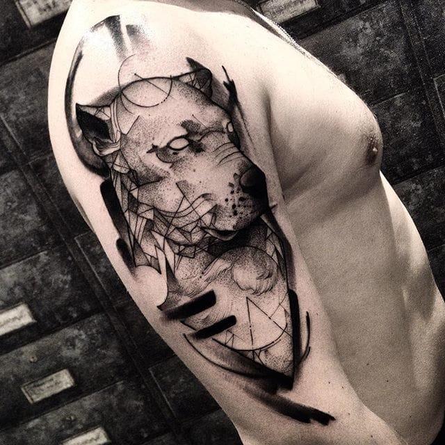 Dog tattoo Tattoo by Fredao Oliveira #blackwork #blckwrk #linework #shading #abstract #sketchstyle #dog #portrait #FredaoOliveira