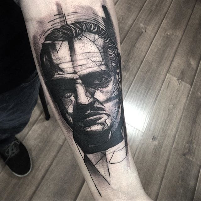 Don Corleone tattoo by Fredao Oliveira #blackwork #blckwrk #linework #shading #abstract #sketchstyle #DonCorleone #Godfather #FredaoOliveira