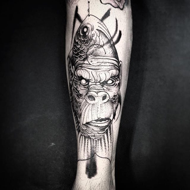 Creative Gorilla Fish tattoo by Fredao Oliveira #blackwork #blckwrk #linework #shading #abstract #sketchstyle #monkey #fish #FredaoOliveira