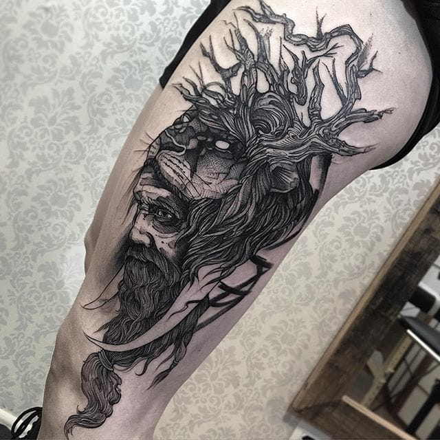 Great Piece by Fredao Oliveira #blackwork #blckwrk #linework #shading #abstract #sketchstyle #tree #nature #lion #portrait #FredaoOliveira