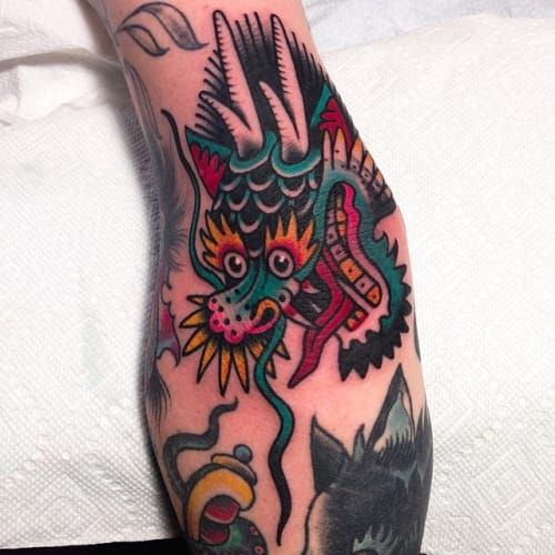 Colorful Dragon Tattoo by Austin Maples