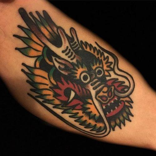 Dragon Head Tattoo by Ryan Shaffer