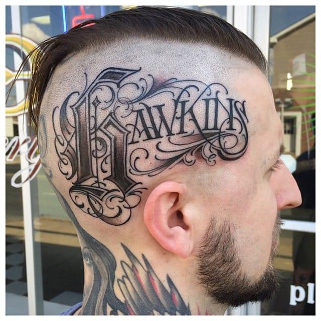 """Hawkins"" on Tattooer Matt Skinny, made by BJ Betts"