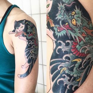 Dragon Monmon Cat Tattoo by Horitomo