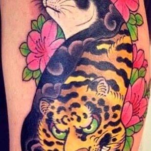 Tiger Monmon Cat Tattoo by Horitomo