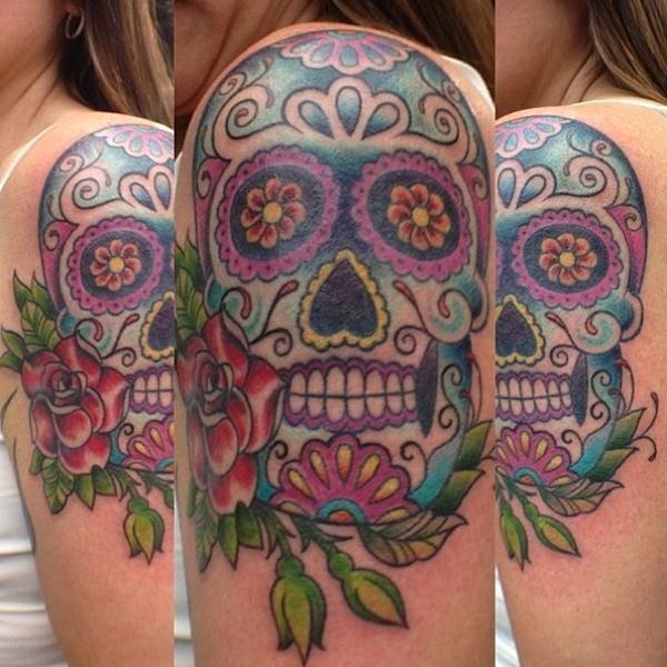 Via Tattoostime.com - Artist unknown. #sugarskull #skull #rose
