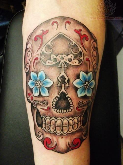 Via tattoostime.com - artist unknown #sugarskull #skull #flower