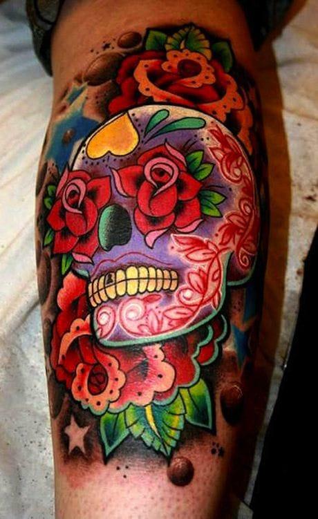 Vibrant suger skull tattoo by Superior Tattoo #sugarskull #skull #rose #vibrant