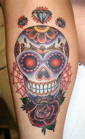 Sugar skull tattoo by Gypsy Girl #sugarskull #skull #rose #GypsyGirl #spiderweb #diamonds
