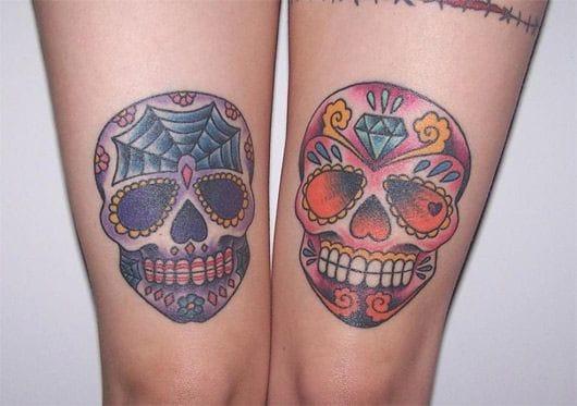 Cute matching sugar skulls via tattoostime.com #sugarskull #skull #matching #matchingtattoos #pair #pairtattoo