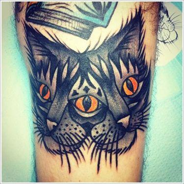 8 Trippy Three Eyed Cat Tattoos