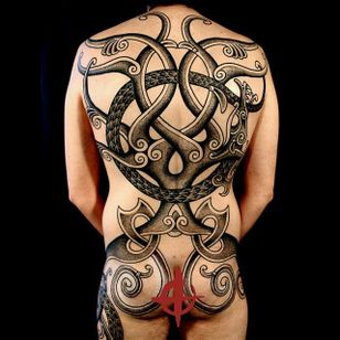Colin Dale specializes in Norse mythology tattoos. This back piece is inspired by tree Yggdrasil.