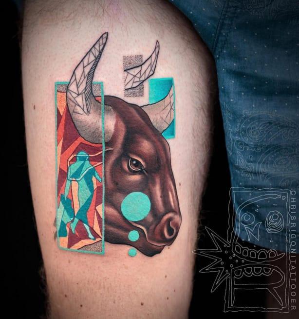 Bull tattoo #ChrisRigoni #abstract #bull #shapes #color