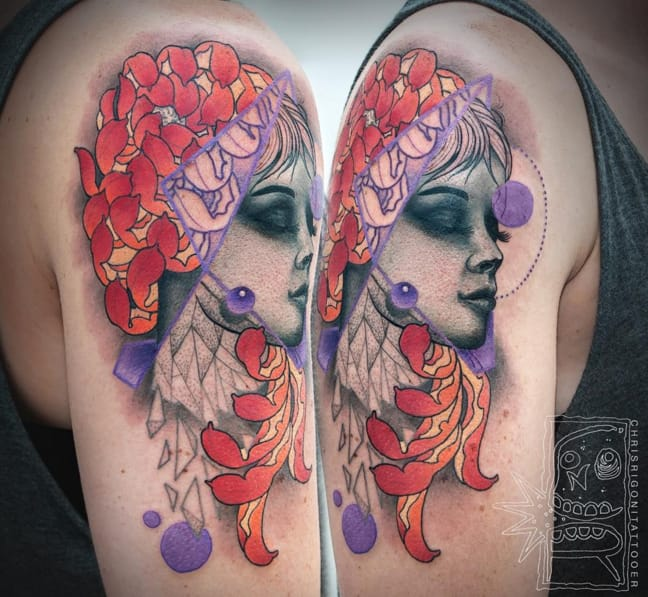 Colorful peony and women's face tattoo by Chris Rigoni #peony #ChrisRigoni #abstract #face