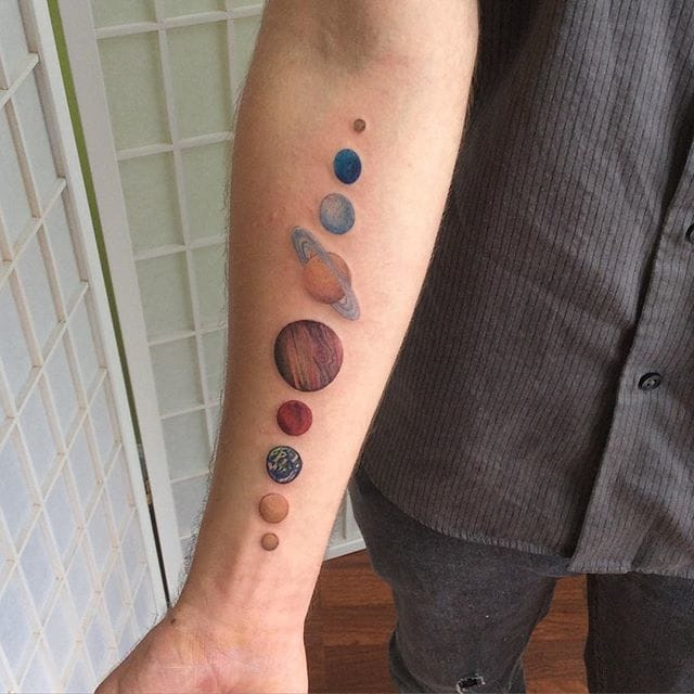 Solar System tattoo by Ivy Lavelle #solar #solarsystem #space #planets #ivylavelle #astronomy