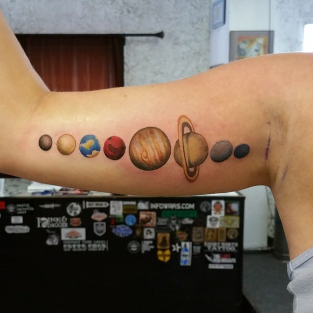Solar system tattoo by Dave O'Neill #solar #solarsystem #space #planets #color #astronomy