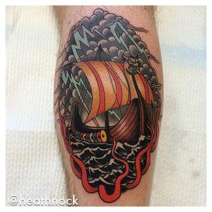Viking Ship Tattoo by Heath Nock
