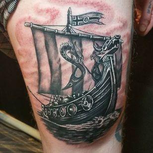 Viking Ship Tattoo by Ryan Riley