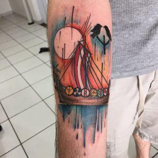Viking Ship Tattoo by Miabara Tattoo