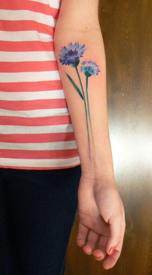 """""""If you really love a flower, don't pick it. Because if you do, it ceases to live."""" A very dainty tattoo by Marcin Surowiec."""