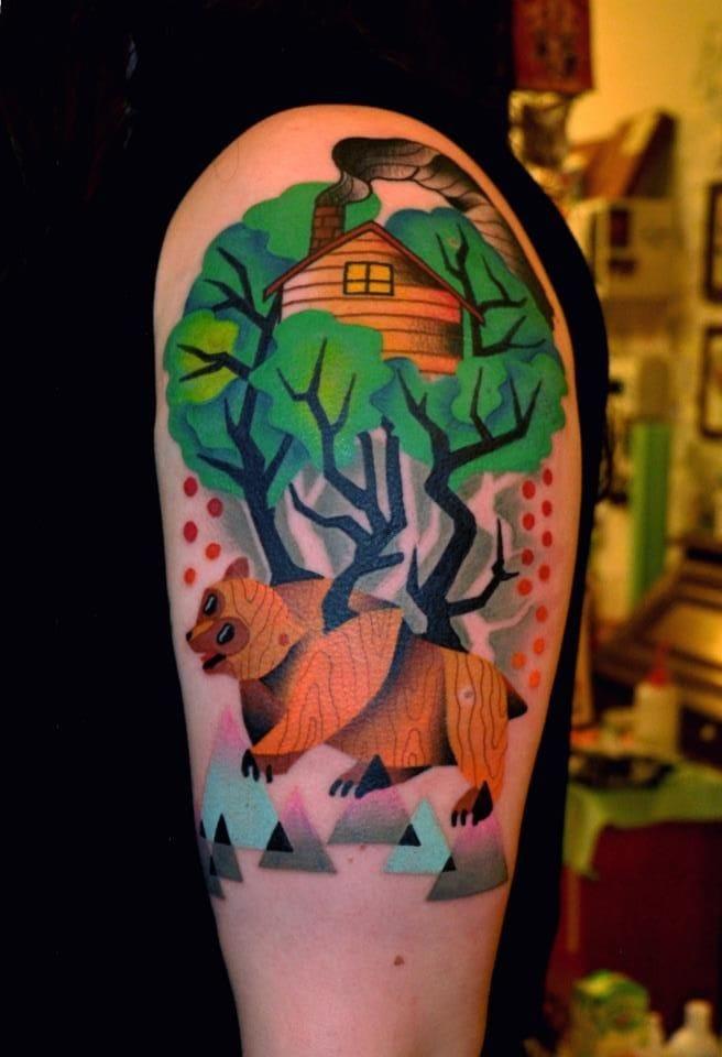 The wilderness. Tattoo by Marcin Surowiec.