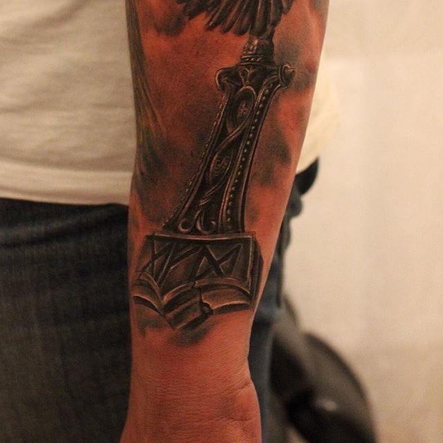 Mjolnir Tattoo by @rassel_snow