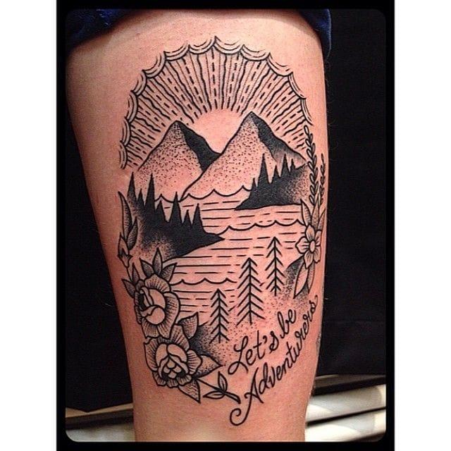Dare to explore the Universe! Ride the adventure! Nature tattoo
