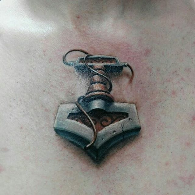 Small but Mighty Mjolnir Tattoo by Alexander Voron