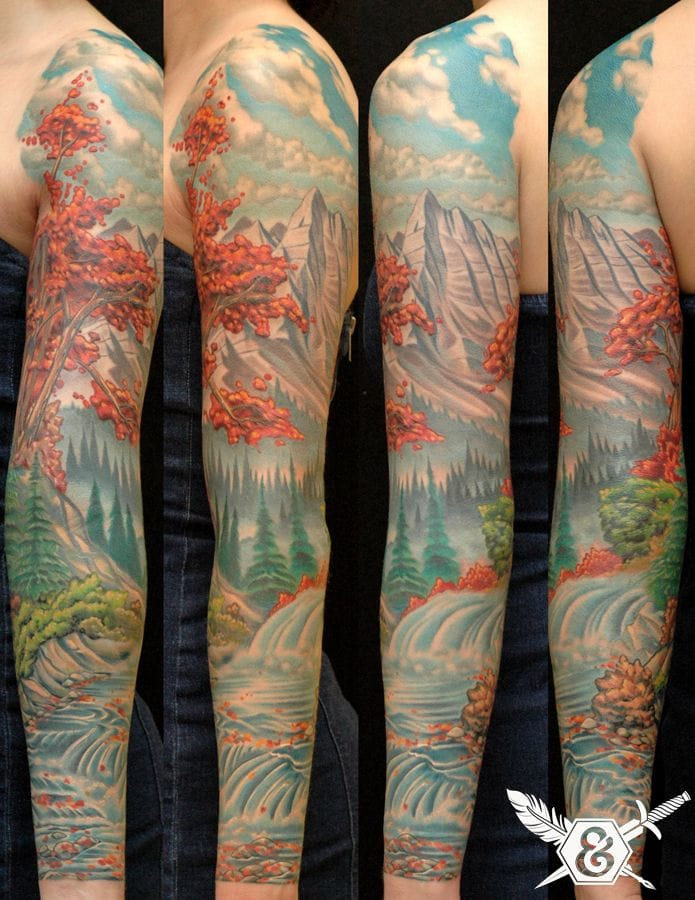 Nature is the Art of God which no one can ever improve. Tattoo by Russ Abbott. Nature Tattoo by Russ Abbott