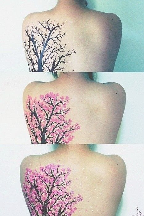 It's awesome how the tattoo progress is similar to the tree's.