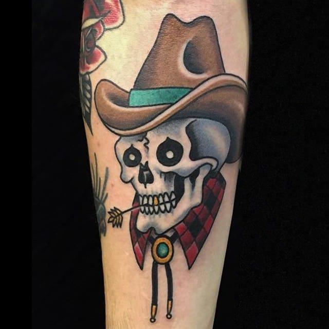 Cowboy Skull Tattoo by Ross Jones