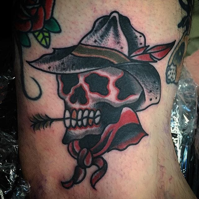 Cowboy Skull Tattoo by Blake Meeks