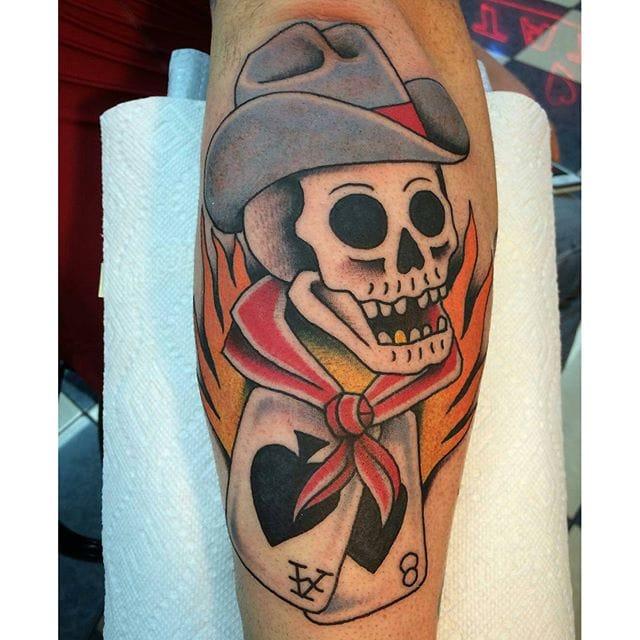 Cowboy Skull Tattoo by Chris Erickson