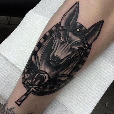 Tattoo by Dean Coughlin #deancoughlin #anubis #anubistattoo #egyptiantattoo #egyptian #egypt #deity #god #mythical