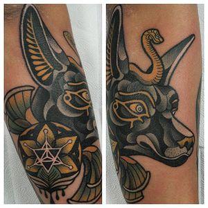 Tattoo by Hyunki Kim #hyunkikim #anubis #anubistattoo #egyptiantattoo #egyptian #egypt #deity #god #mythical