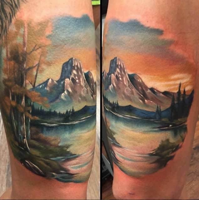 Would be awesome to wake up to this each and every morning. Beautiful Landscape tattoo by unknown artist. Pls let us know if you do!