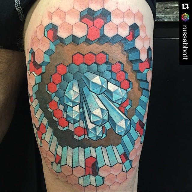 Trippy 3D Geometric Hexagon Tattoo by Russ Abbott